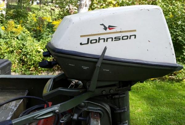 Grumman Sport Canoe, 5hsp Johnson, Galvanized Trailer