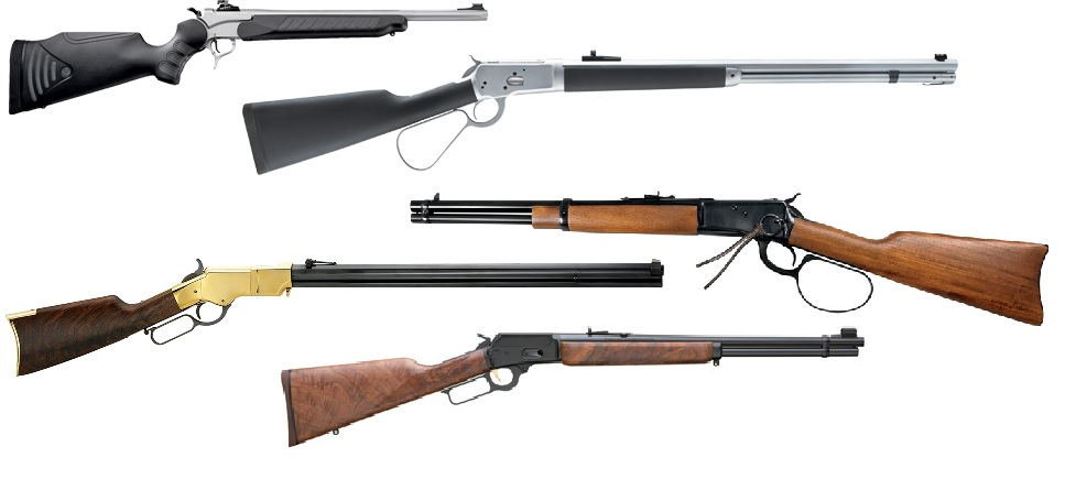 From top, the T/C Encore Pro Hunter Katahdin Carbine, the Chiappa 1892 Alaskan, the Rossi M92 Carbine Large Loop, the Henry Original in .44-40, and the Marlin Model 1894. Composite from Manufactuer's released images.