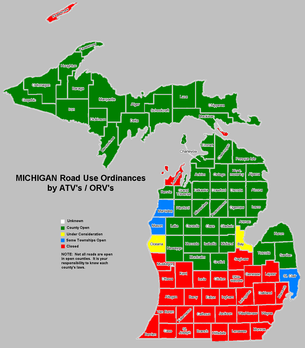 Michigan ORV regulations by county
