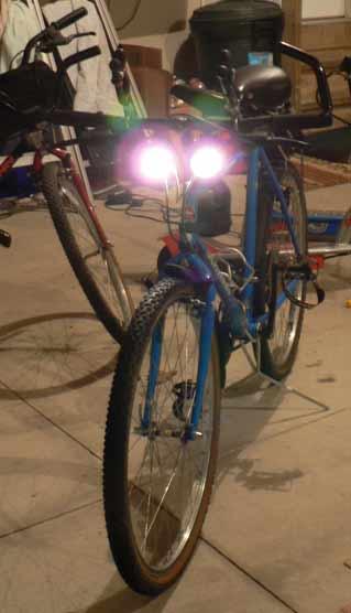 mountain bike with lights