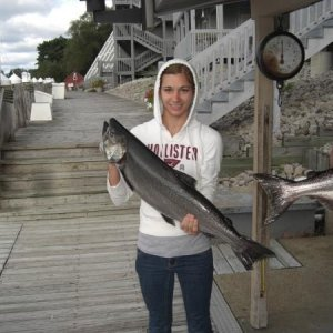 Jessica and her fish. Finquest, Manistee