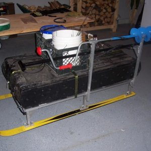 ice fishing sled with gear