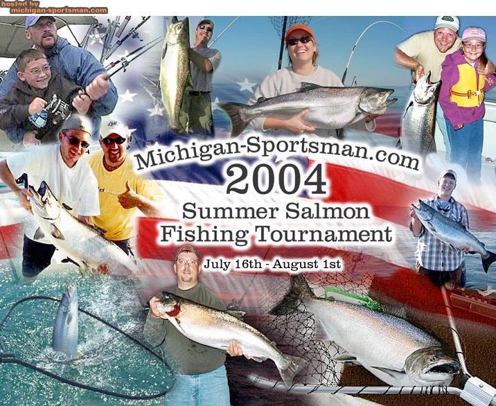 Summer fishing tournament logo michigan sportsman for Online fishing tournament